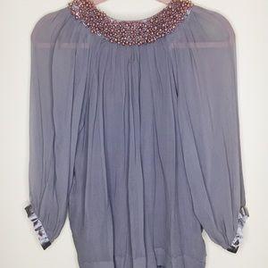 Tops - Hannah Joe beaded collar silk blouse M grey